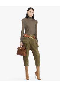 Balmain - BALMAIN - Wełniany sweter z kolorze khaki. Okazja: na spacer. Typ kołnierza: golf. Kolor: zielony. Materiał: wełna. Długość rękawa: długi rękaw. Długość: długie. Sezon: jesień