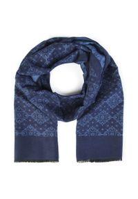 Niebieski szalik Giacomo Conti w kolorowe wzory
