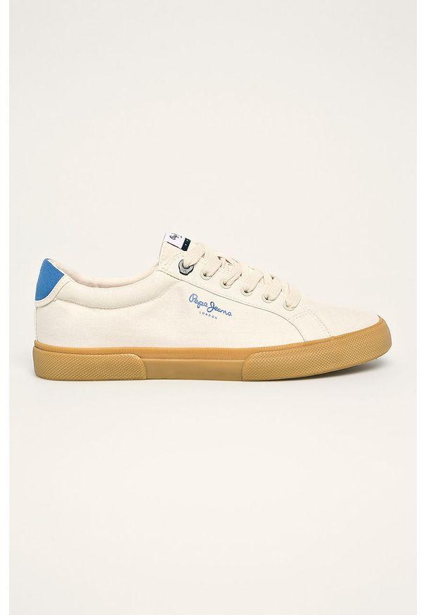 Kremowe sneakersy Pepe Jeans z cholewką, na sznurówki