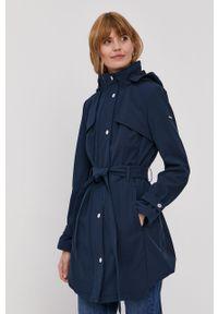 Niebieski płaszcz DKNY gładki