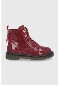 GOE - Botki skórzane. Nosek buta: okrągły. Zapięcie: sznurówki. Kolor: czerwony. Materiał: skóra