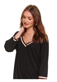 Czarna sukienka TOP SECRET w paski, koszulowa