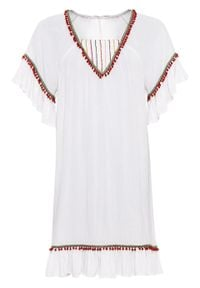 Sukienka z aplikacjami bonprix biel wełny. Kolor: biały. Materiał: wełna. Wzór: aplikacja