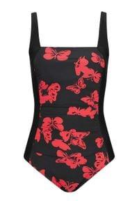 Kostium kąpielowy bandeau bonprix czarno-czerwony w motyle. Kolor: czarny. Wzór: nadruk