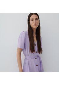 Reserved - Sukienka z wiskozy i lnu - Fioletowy. Kolor: fioletowy. Materiał: len, wiskoza