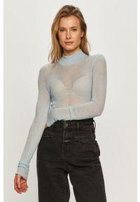 Niebieski sweter Miss Sixty z długim rękawem, klasyczny, długi, z golfem