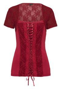 Czerwona bluzka bonprix z gorsetem, elegancka