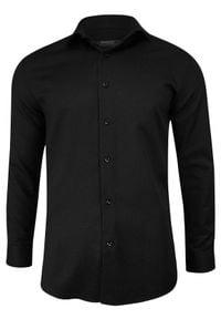 Czarna elegancka koszula Grzegorz Moda Męska z długim rękawem, na spotkanie biznesowe, długa