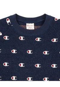 Champion - CHAMPION - Granatowy sweter z logo. Kolor: niebieski. Materiał: wiskoza, wełna, akryl. Długość rękawa: długi rękaw. Długość: długie. Sezon: jesień. Styl: elegancki