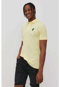 Żółta koszulka polo John Frank na co dzień, polo, krótka