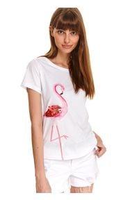 DRYWASH - T-shirt damski z cekinami, z flamingiem. Kolor: biały. Materiał: tkanina, bawełna. Długość rękawa: krótki rękaw. Długość: krótkie. Wzór: nadruk. Sezon: lato