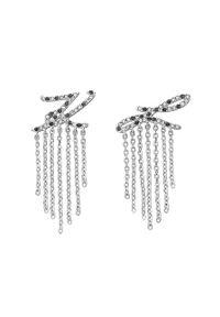 Srebrne kolczyki Karl Lagerfeld z aplikacjami, z kryształem, metalowe
