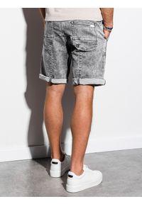 Ombre Clothing - Krótkie spodenki męskie jeansowe W219 - szare - XXL. Kolor: szary. Materiał: jeans. Długość: krótkie. Wzór: aplikacja