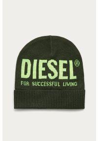 Brązowa czapka Diesel z nadrukiem