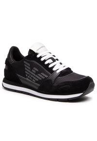 Emporio Armani - Sneakersy EMPORIO ARMANI - X4X537 XM678 N639 Blk/Blk/Blk/Blk/Blk. Okazja: na co dzień. Kolor: czarny. Materiał: skóra ekologiczna, materiał, zamsz. Szerokość cholewki: normalna. Styl: elegancki, casual