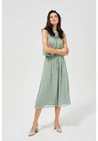 MOODO - Wzorzysta sukienka w stylu boho. Materiał: poliester, guma. Wzór: kwiaty, nadruk. Styl: boho