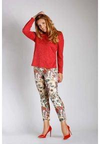Nommo - Czerwona Bluzka z Kopertowym Dekoltem na Plecach PLUS SIZE. Kolekcja: plus size. Kolor: czerwony. Materiał: wiskoza, poliester, poliamid