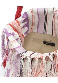 ISABEL MARANT - Bawełniana torebka z frędzlami Marakoo. Kolor: czerwony. Wzór: aplikacja. Dodatki: z frędzlami. Styl: boho, casual. Rodzaj torebki: na ramię