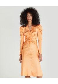 Patrizia Pepe - PATRIZIA PEPE - Pomarańczowa sukienka z bufiastymi rękawami. Kolor: pomarańczowy. Materiał: wiskoza. Długość: midi