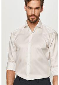 Hugo - Koszula bawełniana. Typ kołnierza: kołnierzyk włoski. Kolor: biały. Materiał: bawełna. Długość rękawa: długi rękaw. Długość: długie. Wzór: gładki