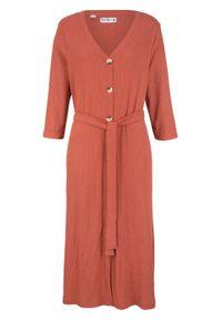 Brązowa sukienka bonprix midi, z aplikacjami