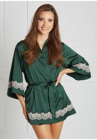 Saintmiss - Peniuar japoński // Grâce - Uniwersalny, Zielony. Kolor: zielony. Materiał: satyna, materiał, koronka. Długość: krótkie. Wzór: koronka