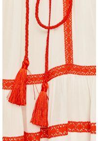 TwinSet - Twinset - Sukienka. Kolor: biały. Materiał: tkanina. Długość rękawa: krótki rękaw. Typ sukienki: rozkloszowane