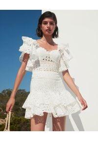 CHARO RUIZ IBIZA - Biała spódnica z haftem Natalie. Kolor: biały. Materiał: bawełna. Wzór: haft