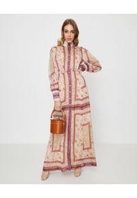 RAQUEL DINIZ - Sukienka ze wzorem Marellla. Kolor: czerwony. Materiał: jedwab. Wzór: kwiaty, haft, aplikacja. Długość: maxi