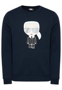 Karl Lagerfeld - KARL LAGERFELD Bluza Ikonik 705061 511951 Granatowy Regular Fit. Typ kołnierza: dekolt w karo. Kolor: niebieski