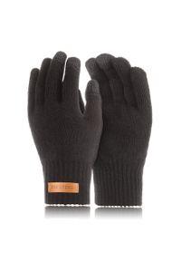 BRODRENE - Rękawiczki męskie zimowe do smartfonów Brodrene R1 czarne. Kolor: czarny. Materiał: materiał. Sezon: zima