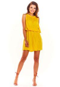 Awama - Żółta Letnia Sukienka z Marszczonym Dekoltem. Kolor: żółty. Materiał: wiskoza, elastan. Sezon: lato