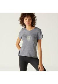 Koszulka do fitnessu NYAMBA z krótkim rękawem, krótka, z nadrukiem