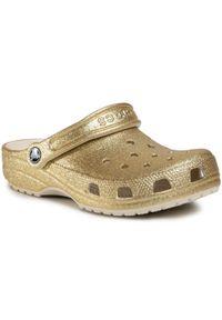 Złote klapki Crocs