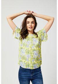 MOODO - Bluzka koszulowa z motywem kwiatów. Typ kołnierza: bez kołnierzyka. Materiał: wiskoza. Długość rękawa: krótki rękaw. Długość: krótkie. Wzór: kwiaty