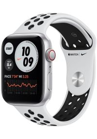 APPLE - Apple Watch Nike SE Cellular, 44mm Silver Aluminium Case with Pure Platinum/Black Nike Sport Band. Kolor: srebrny. Styl: sportowy