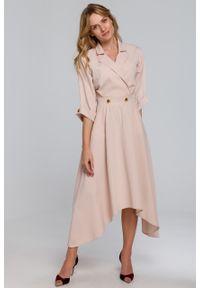 e-margeritka - Sukienka rozkloszowana midi elegancka beżowa - l. Kolor: beżowy. Materiał: materiał, tkanina, poliester, elastan. Wzór: gładki. Typ sukienki: rozkloszowane, kopertowe, asymetryczne. Styl: elegancki. Długość: midi
