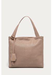 Różowa shopperka Answear Lab na ramię, skórzana