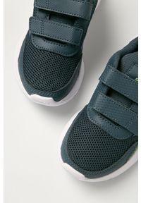 Niebieskie buty sportowe Adidas na rzepy, z cholewką, z okrągłym noskiem