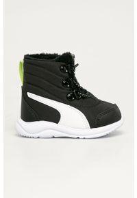 Czarne buty zimowe Puma na sznurówki, na zimę, z cholewką