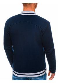 Ombre Clothing - Bluza męska rozpinana bez kaptura B1183 - granatowa - XXL. Okazja: na co dzień. Typ kołnierza: bez kaptura. Kolor: niebieski. Materiał: bawełna, poliester. Wzór: paski. Styl: casual