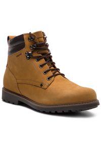 Brązowe buty zimowe Geox klasyczne, na co dzień, z cholewką