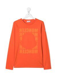 MONCLER KIDS - Pomarańczowa koszulka z logo 4-10 lat. Okazja: na co dzień. Kolor: pomarańczowy. Materiał: bawełna. Długość: długie. Wzór: aplikacja. Sezon: lato. Styl: casual