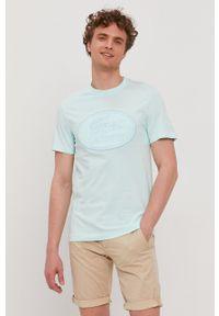 Lacoste - T-shirt. Okazja: na co dzień. Kolor: turkusowy. Wzór: aplikacja. Styl: casual
