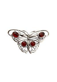 Polcarat Design - Srebrna broszka B 123 Bursztyn. Materiał: srebrne. Kolor: srebrny. Wzór: aplikacja. Kamień szlachetny: bursztyn