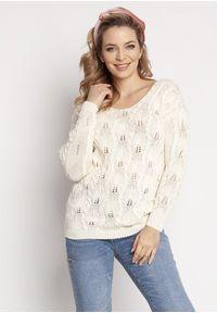 MKM - Kobiecy Ażurowy Sweter - Ecru. Materiał: bawełna, akryl. Wzór: ażurowy