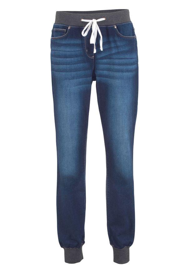 Dżinsy BOYFRIEND ze stretchem i wygodnym paskiem bonprix niebieski denim. Kolor: niebieski