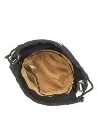 Wittchen - Torebka worek pleciona z płótnem. Kolor: czarny. Wzór: aplikacja. Materiał: skórzane. Rodzaj torebki: na ramię