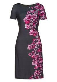 Sukienka shirtowa z nadrukiem bonprix szary - różowa magnolia z nadrukiem. Typ kołnierza: dekolt w serek. Kolor: szary. Długość rękawa: krótki rękaw. Wzór: nadruk. Styl: elegancki