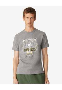 Kenzo - KENZO - Szary t-shirt z tygrysem. Kolor: szary. Materiał: bawełna. Wzór: aplikacja. Styl: klasyczny